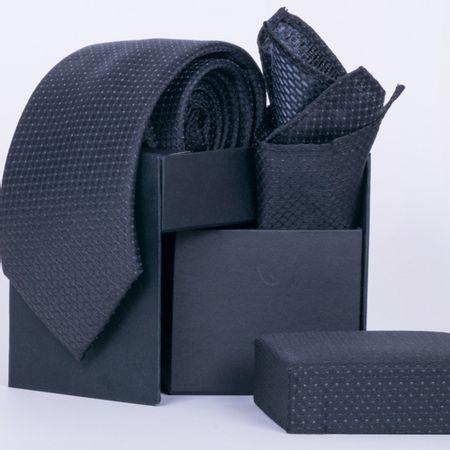 gravata-com-lenco-e-caixinha-desenhos-geometricos-em-poliester-preta-textura-small-2