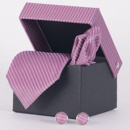 Gravata-com-lenco-abotoadura-e-caixinha-desenhos-geometricos-em-poliester-Rosa-textura-small