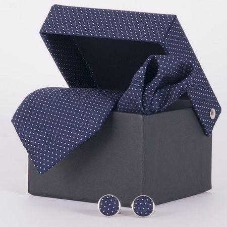 Gravata-com-lenco-abotoadura-e-caixinha-desenhos-geometricos-em-poliester-Azul-textura-small-2