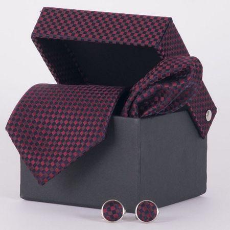 Gravata-com-lenco-abotoadura-e-caixinha-desenhos-geometricos-em-poliester-Vermelha-textura-medium