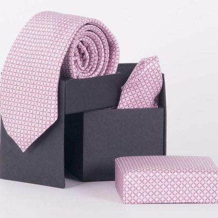 Gravata-com-lenco-e-caixinha-desenhos-geometricos-em-poliester-Rosa-textura-medium
