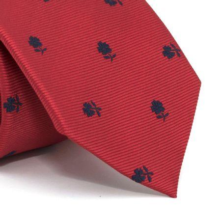Gravata-com-desenho-floral-em-poliester-Vermelha-textura-medium