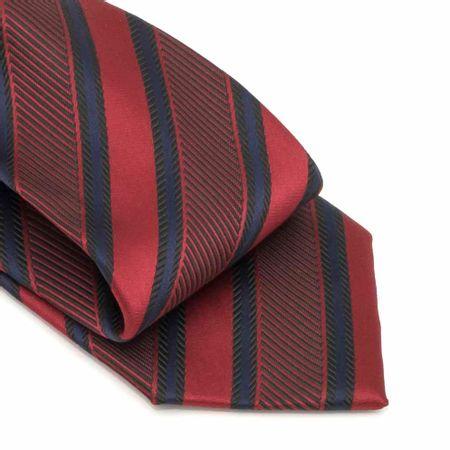 Gravata-com-no-pronto-desenho-listrado-em-poliester-Vermelha-textura-large-2