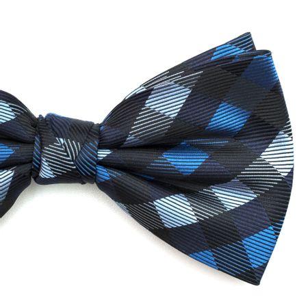 Gravata-borboleta-com-desenho-xadrez-em-poliester-Azul-textura-large