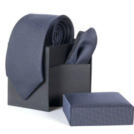 Gravata-com-lenco-e-caixinha-desenhos-geometricos-em-poliester-Preta-textura-small-1
