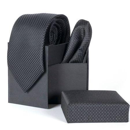 Gravata-com-lenco-e-caixinha-desenhos-geometricos-em-poliester-Preta-textura-small