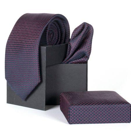 Gravata-com-lenco-e-caixinha-desenhos-geometricos-em-poliester-Azul-textura-small-1