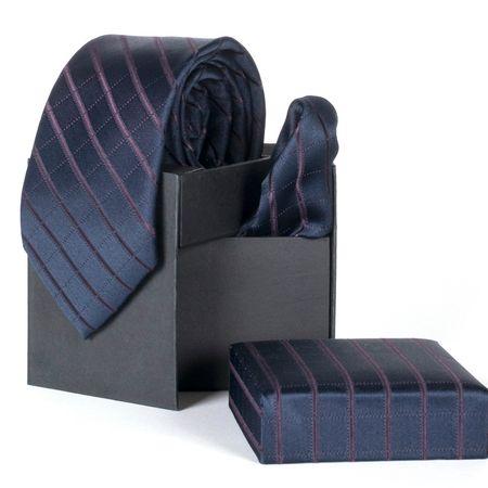 Gravata-com-lenco-e-caixinha-desenho-listrado-em-poliester-Azul-textura-medium-1