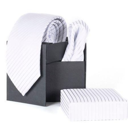 Gravata-com-lenco-e-caixinha-desenho-listrado-em-poliester-Branca-textura-small