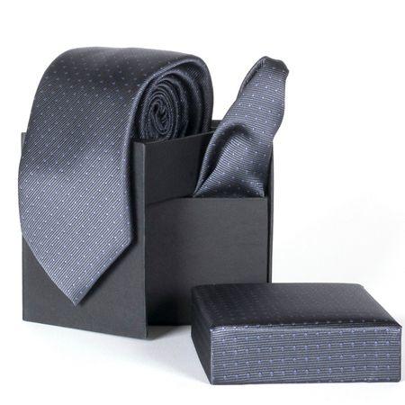 Gravata-com-lenco-e-caixinha-desenhos-geometricos-em-poliester-Cinza-textura-small