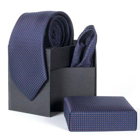 Gravata-com-lenco-e-caixinha-desenhos-geometricos-em-poliester-Azul-textura-small