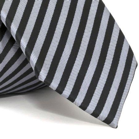 Gravata-com-desenho-listrado-em-poliester-Preta-textura-medium-1