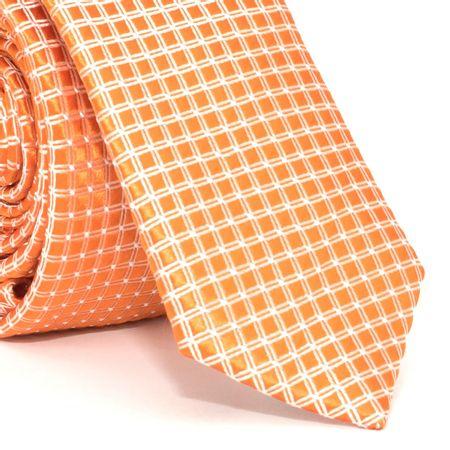 gravata-super-slim-com-desenhos-geometricos-em-poliester-laranja-textura-medium