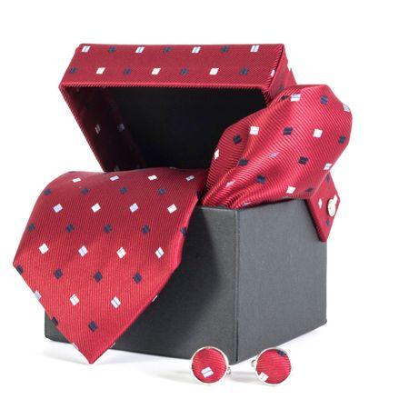 Gravata-com-lenco-abotoadura-e-caixinha-desenhos-geometricos-em-poliester-Vermelha-textura-large-3