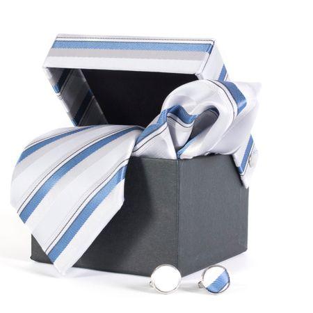 Gravata-com-lenco-abotoadura-e-caixinha-desenho-listrado-em-poliester-Prata-textura-large