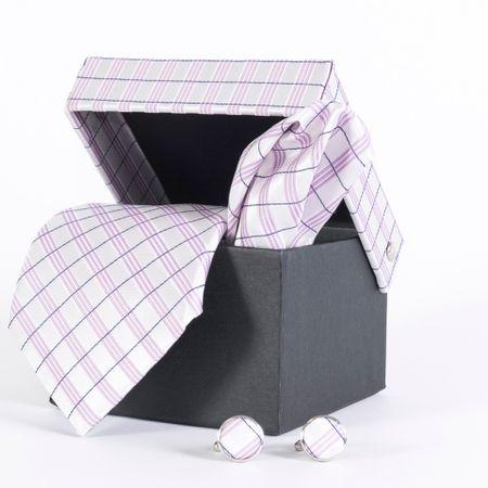 Gravata-com-lenco-abotoadura-e-caixinha-desenhos-xadrez-em-poliester-Branco-textura-large