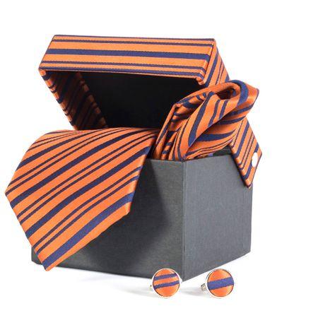 Gravata-com-lenco-abotoadura-e-caixinha-desenho-listrado-em-poliester-Azul-textura-large-1