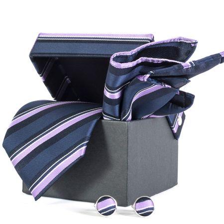 Gravata-com-lenco-abotoadura-e-caixinha-desenho-listrado-em-poliester-Roxa-textura-large