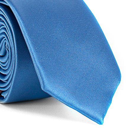 Gravata-Slim-lisa-em-poliester-Azul