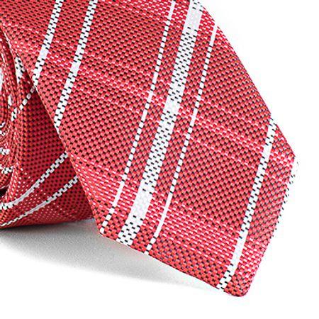 Gravata-Slim-com-desenho-xadrez-em-poliester-Vermelha-textura-large