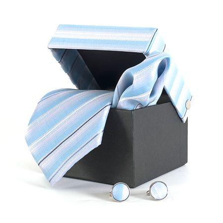 Gravata-com-lenco-abotoadura-e-caixinha-desenho-listrado-em-poliester-Azul-textura-medium-2