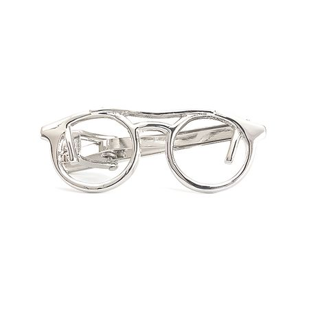 Prendedor-de-gravata-prateado-liso-em-formato-de-Oculos