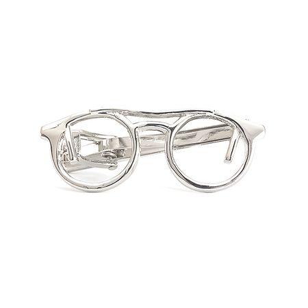 f475442092f37 Prendedor de gravata prateado liso em formato de Óculos