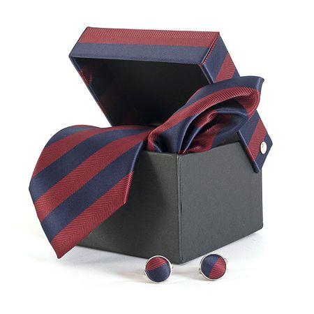 Gravata-com-lenco-abotoadura-e-caixinha-desenho-listrado-em-poliester-Vermelha-textura-large-2