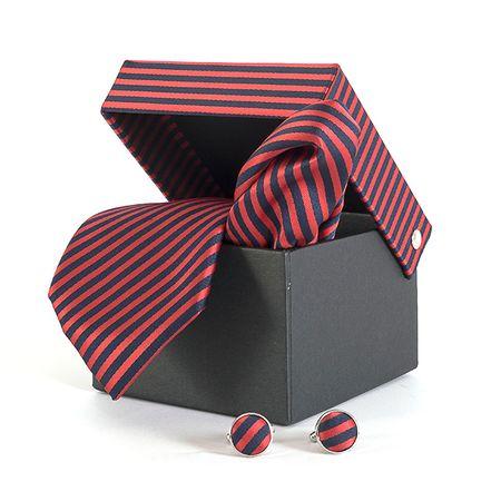 Gravata-com-lenco-abotoadura-e-caixinha-desenho-listrado-em-poliester-Vermelha-textura-large-3