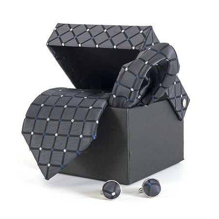 Gravata-com-lenco-abotoadura-e-caixinha-desenhos-geometricos-em-poliester-Cinza-textura-large