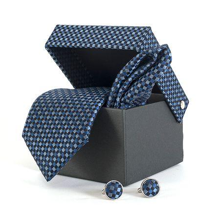 Gravata-com-lenco-abotoadura-e-caixinha-desenhos-geometricos-em-poliester-Azul-textura-small-3
