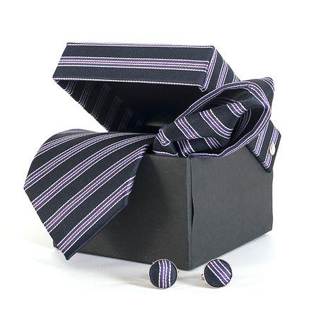 Gravata-com-lenco-abotoadura-e-caixinha-desenho-listrado-em-poliester-Roxa-textura-medium-3