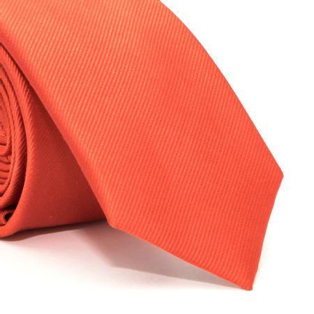 Gravata-Slim-com-desenho-falso-liso-em-seda-pura-Laranja-textura-small