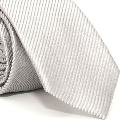 Gravata-Slim-com-desenho-falso-liso-em-seda-pura-Prata-textura-small-2