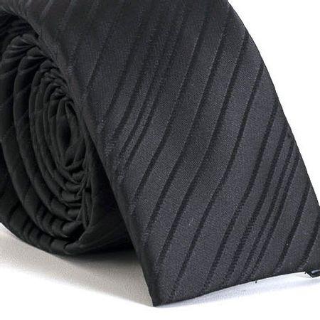Gravata-Slim-bico-quadrado-com-desenho-listrado-em-poliester-Preta-textura-small