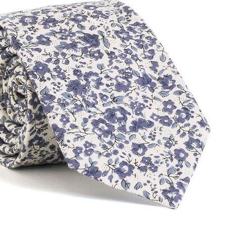 Gravata-Slim-com-desenho-floral-em-algodao-Branca-textura-small-3