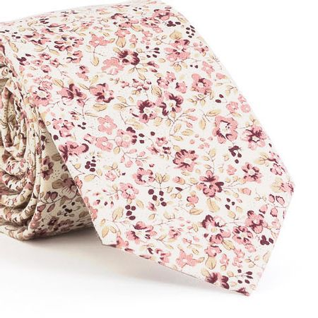Gravata-Slim-com-desenho-floral-em-algodao-Branca-textura-small-4