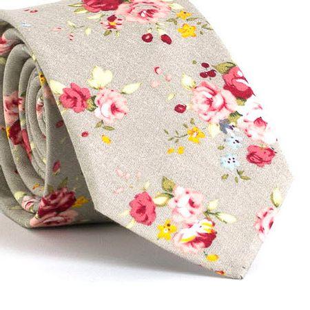 Gravata-Slim-com-desenho-floral-em-algodao-Cinza-textura-large
