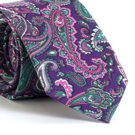 Gravata-Slim-com-desenho-Cashmere-em-algodao-Roxa-textura-large