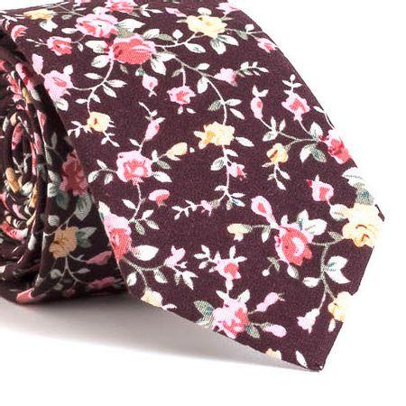 Gravata-Slim-com-desenho-floral-em-algodao-Marrom-textura-medium