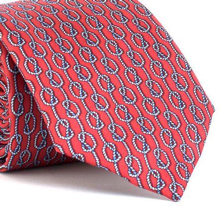 Gravata-estampada-em-seda-pura-com-desenho-geometrico-na-cor-Vermelha-textura-medium