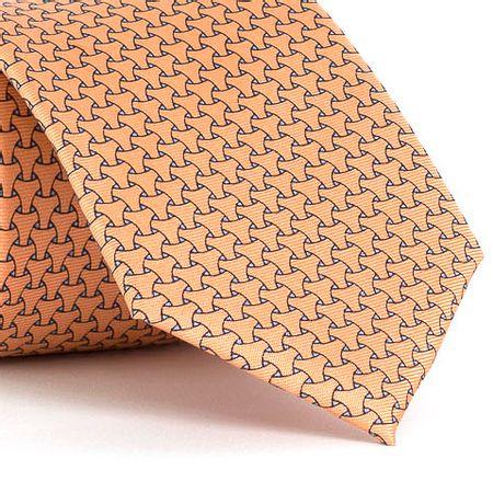 Gravata-estampada-em-seda-pura-com-desenho-geometrico-na-cor-Laranja-textura-medium