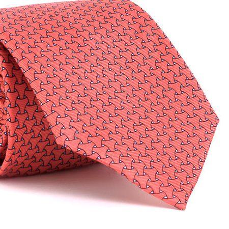 Gravata-estampada-em-seda-pura-com-desenho-geometrico-na-cor-Laranja-textura-medium-2