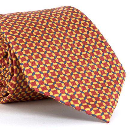 Gravata-estampada-em-seda-pura-com-desenho-geometrico-na-cor-Laranja-textura-medium-3