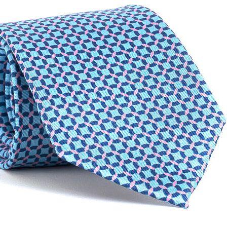 Gravata-estampada-em-seda-pura-com-desenho-geometrico-na-cor-Azul-textura-medium