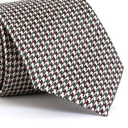 Gravata-estampada-em-seda-pura-com-desenho-geometrico-na-cor-Branca-textura-small-4