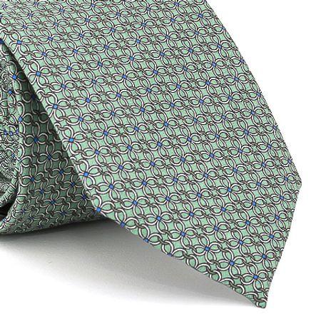 Gravata-estampada-em-seda-pura-com-desenho-geometrico-na-cor-Verde-textura-medium