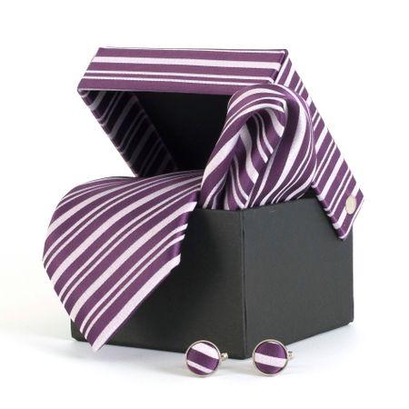 Gravata-com-lenco-abotoadura-e-caixinha-desenho-listrado-em-poliester-Roxa-textura-medium-2
