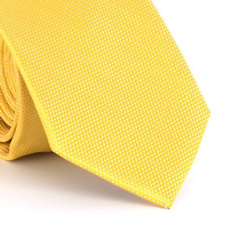Gravata-com-desenho-falso-liso-em-poliester-Amarela-textura-small-3