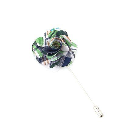 Pino-de-lapela-xadrez-verde-branco-e-azul-em-formato-de-flor